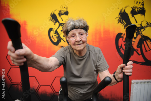 Active senior woman excercising