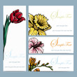 Spring flowers invitation brochure template card layout