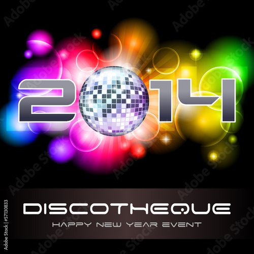 2014 light explosion - New Year's disco and event flyer template