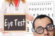 Man with glasses and a doctor with shield - Eye Test