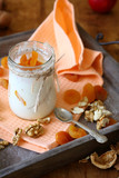 fresh yogurt with pieces of apricot
