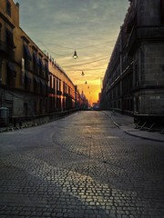 Empty Street at Sunrise in Mexico City North America