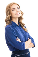 Young cheerful business woman, on white