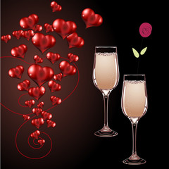 вектор бокалы шампанского и сердце