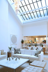 Home interior in white with skylight