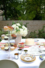 Outdoor table setting in garden