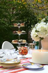 Outdoor table setting in garden