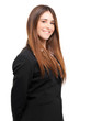 Smiling businesswoman on white background