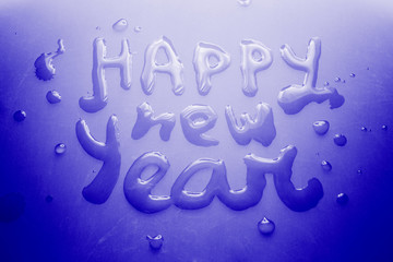 Happy new year concept, water on ice, greeting card