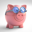 Piggy Bank Happy. Clipping Path Included.