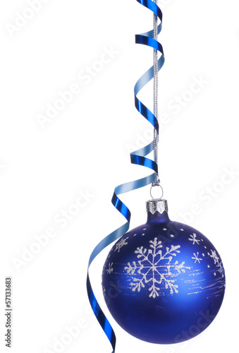 Christmas ball with ribbon and snowflake