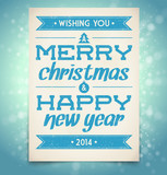 Christmas and New Year greeting card with typography