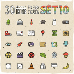 30 Colorful Doodle Icons Set 10