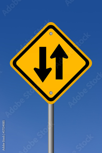 Two way road sign illustration