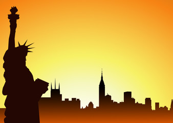 Statue of Liberty & New York at  Morning-vector