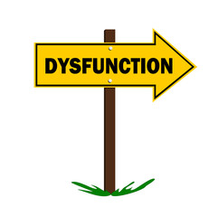 dysfunction sign with arrow