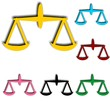 Colorful scales balance icons set