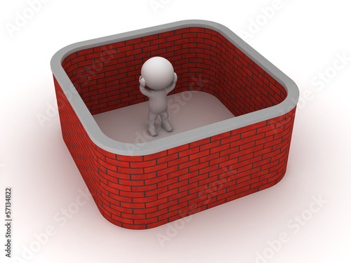 3D Man stuck with brick wall around him