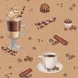 Seamless pattern with illustrations of coffee cup and chocolate