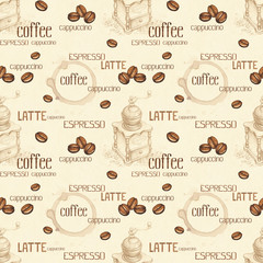 Seamless pattern with illustrations of coffee beans and coffee g