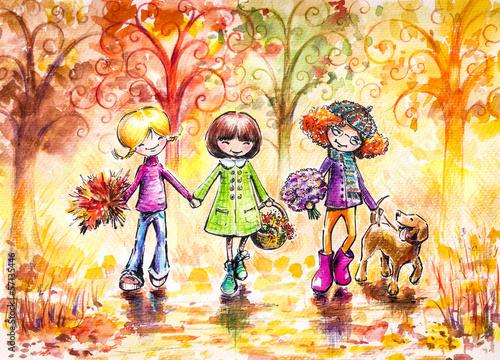 trzy-szczesliwej-dziewczyny-i-psa-na-spacerze-w-parku