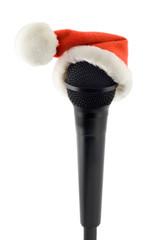 Microphone black in santa claus hat