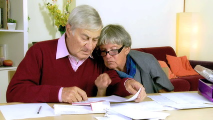 Happy elderly couple reading documents at home