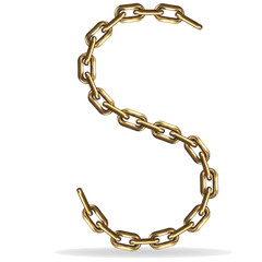 Golden Letter S, made with chains