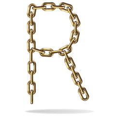 Golden Letter R, made with chains