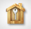 key in wooden house