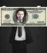 businessman holding a one hundred dolla