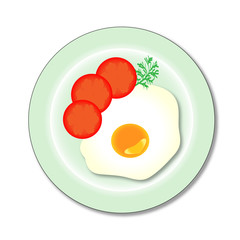 vector scrambled eggs on a plate with tomato and dill
