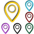 Set of round Colorful map pointers