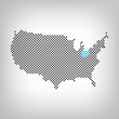 Ohio in USA Karte punktiert