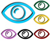 Colorful eyes design icon set