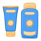sun cream packaging and suntan lotion