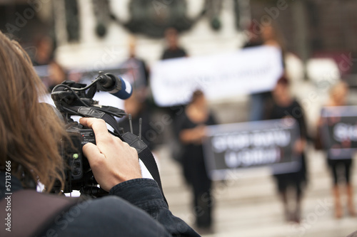 covering a street protest using video camera