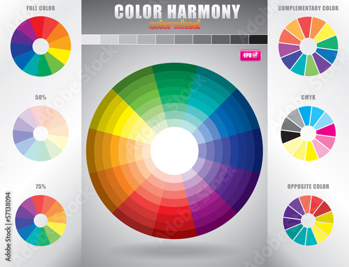 Color harmony / Color wheel with shade of colors