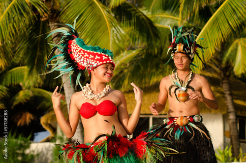 Young Polynesian Pacific Island Tahitian Dancers Couple - 57138288