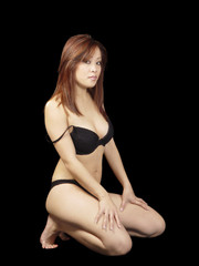 Young Asian American Woman Black Bikini Kneeling