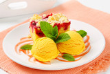 Raspberry cake with ice-cream