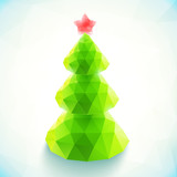 Green polygonal vector christmas tree