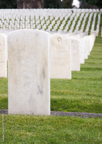 Unmarked White Marble Stone Military Headstones Row Graveyard