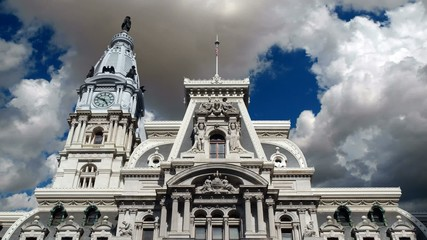 Philadelphia City Hall with Time Lapse Clouds