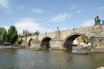 View of Charles Bridge in Prague (Karluv Most) the Czech Republi