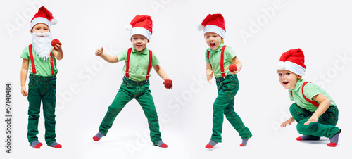 cute kid santa claus in motion