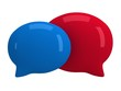Two 3d blank speech bubbles