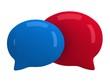 Two 3d blank speech bubbles