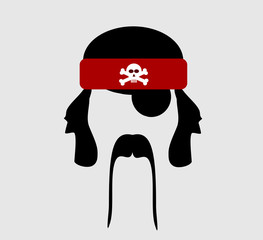 pirate with red bandanna with skull