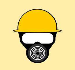 man wearing gas mask and helmet